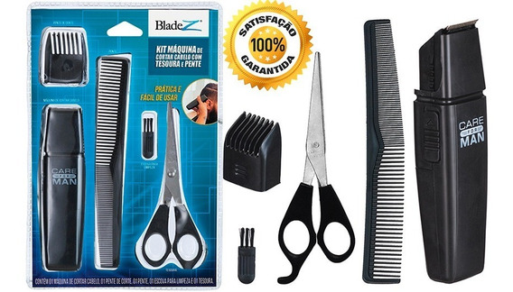 Maquininha Cortar Cabelo Aparar Barba Tesoura Pente Escova.