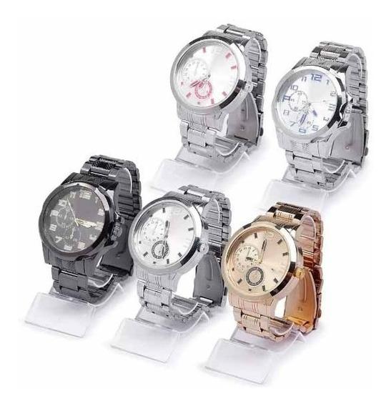 Kit 12 -5 Relógios Luxo Masculino Aço +7 Femininos De Couro