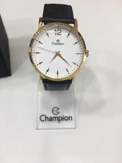 Relógio De Pulso Champion Ch22715 Dourado E Branco Couro