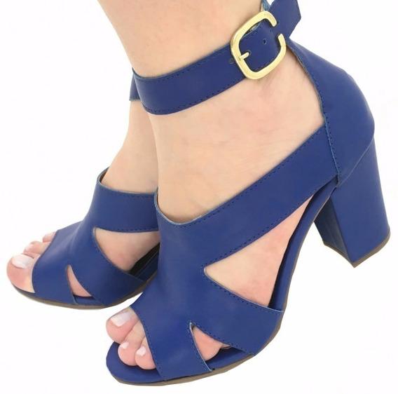 Sandália Azul Royal Bic Tiras Salto Grosso Médio Alto