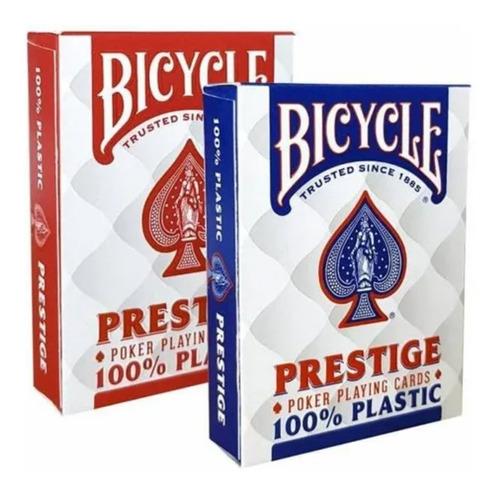Imagem 1 de 6 de Par Baralho Bicycle Prestige Rider 100% Plástico Poker Size