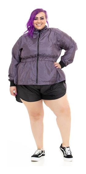 Shorts Plus Size Wonder Size By Ju Romano Microfibra Lilás