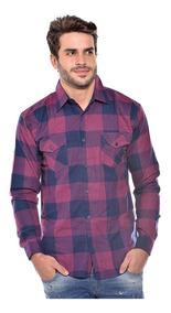Camisa Masculina Flanelada Manga Longa Slim Ref 1007