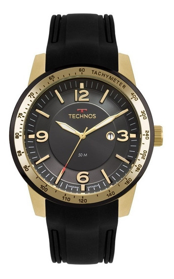 Relógio Technos Masculino Preto E Dourado 2117lbb/8p - 2019