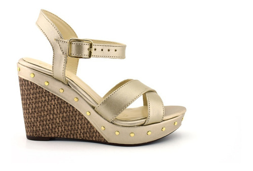 Sandalia De Piel Y Plataforma Giusto Para Mujer Oro