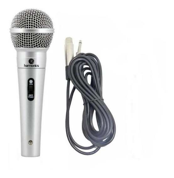 Microfone De Mão Profissional Harmonics Com Cabo Stereo 4,5m