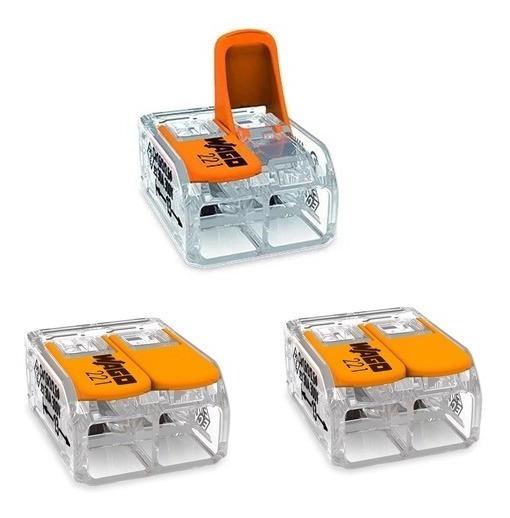 Kit 3 Conector P/ Chuveiro Compacto Emenda 2 Fios 6mm² Wago