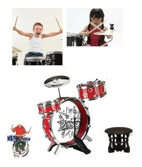 Bateria Tambor Percusion Musical Para Niños Baquetas Banco