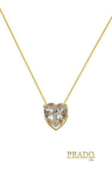 Corrente Veneziana 45cm Com Ponto De Luz Coração Em Ouro 18k