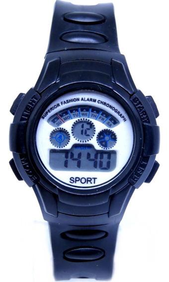 Relógio Digital Infantil Original Preto Luz Alarm Sport Shok