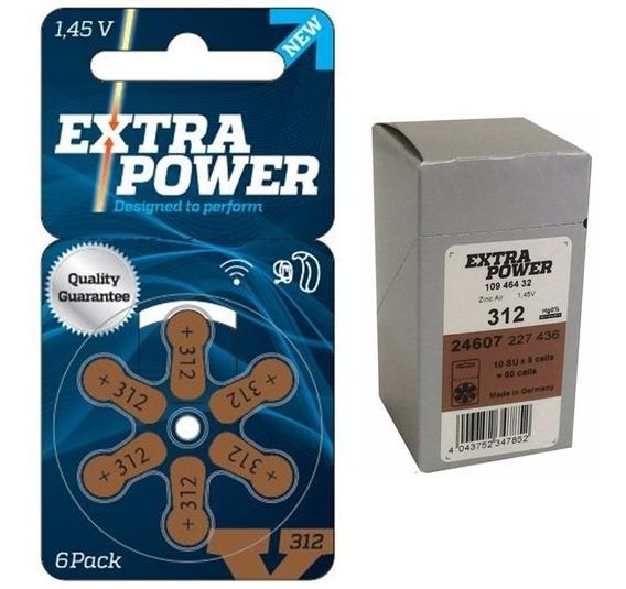 Pilha Aparelho Auditivo 312 Pr41 Extra Power 60 Baterias Nf