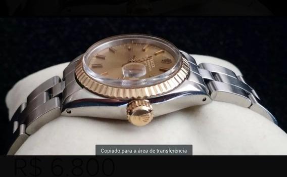 Relógio Rolex Para Dama Metade Combinado Em Ouro 18k