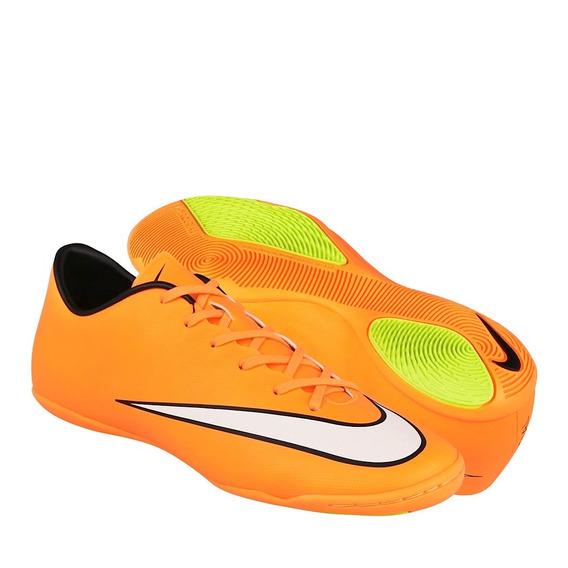 Tenis Para Fut 7 Nike Para Hombre Simipiel Naranja Con Blanc