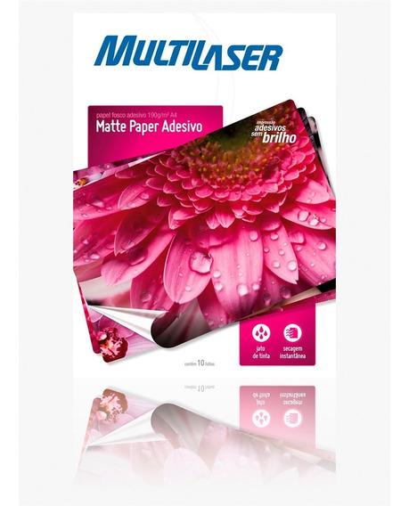 Papel Fosco Adesivo A4 Matte 10 Folhas Pe007 Multilaser