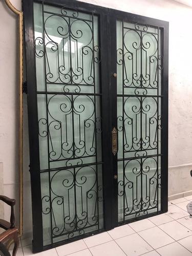 Porta De Ferro E Vidro Classica Para Entrada