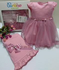 Saida Maternidade Luxo Paraiso Bebê Menina Vestido Ref 7579