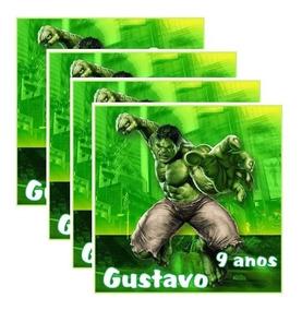 70 Adesivo Hulk 8x8 Cm Sacolinha Lembrancinha Aniversário #