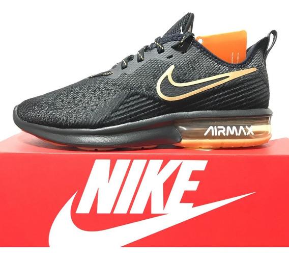 Tênis Nike Air Max Sequent 4 Preto E Dourado Original