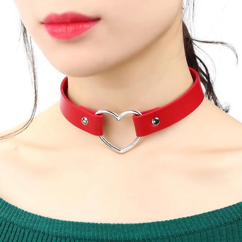 Collar Dama  Mujer Cuero Choker Gargantilla Corazon Gotica