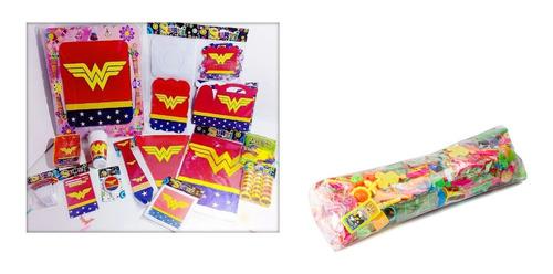 Kit Decoración Mujer Maravilla Escudo Piñata Relleno X12