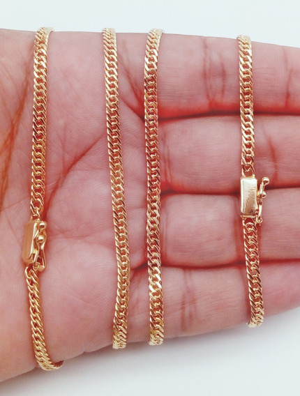 Gargantilha Pulseira Duplix Banhado Ouro Garantia4mm 271