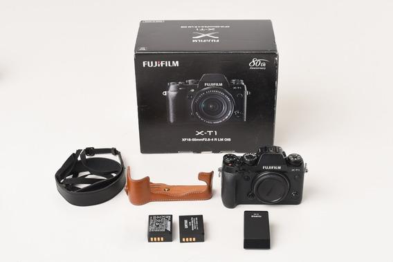 Corpo De Câmera Fuji X-t1 Com 2 Baterias E Case De Couro