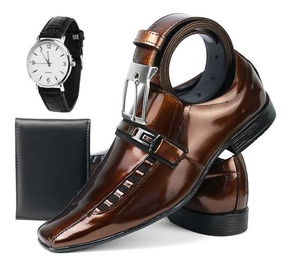 Sapato Social Masculino Combo Com Relógio/cinto/carteira