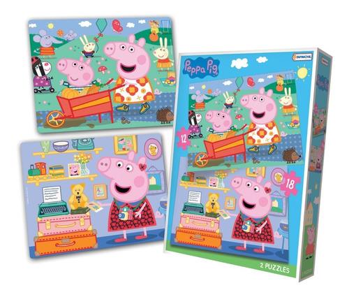 Puzzle 12y18 Pzas Peppa Pig Rompecabezas Juego De Mesa
