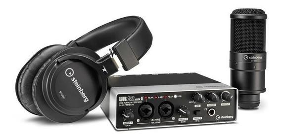 Kit Studio Gravação Ur22mk Yamaha Steinberg + Microf + Fone