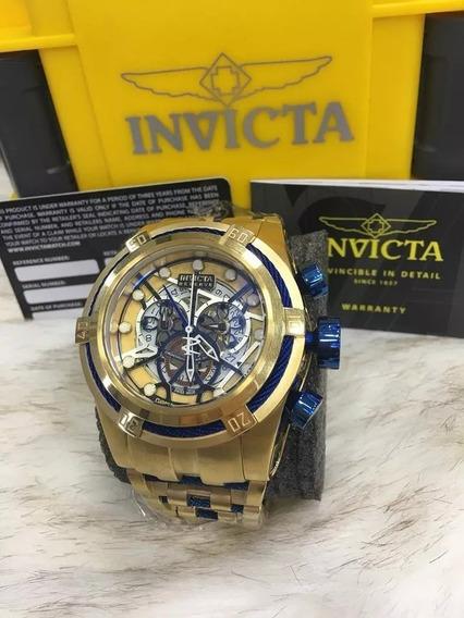 Relógio Pwz5689 Invicta 12900 Bolt Skeleton Dourado Promoção
