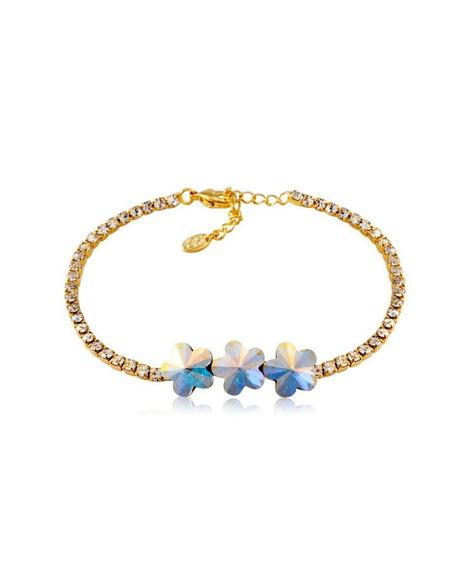 Pulsera Tiny Flowers De Cristal Chapa De Oro