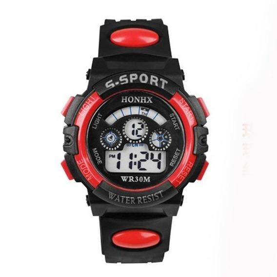 Relógio S-sport Vermelho Para Meninos - Pronta Entrega