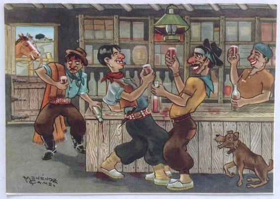 Postal Gauchesca Brindemos Menendez Came 1950
