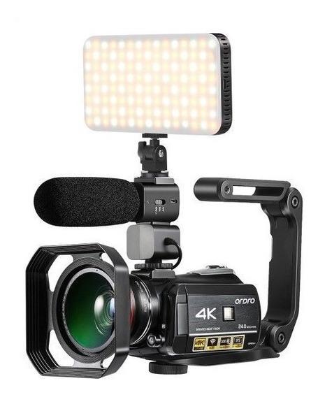 Filmadora Ordro Ac3 4k V. Not 24mp Completa + Iluminador Led