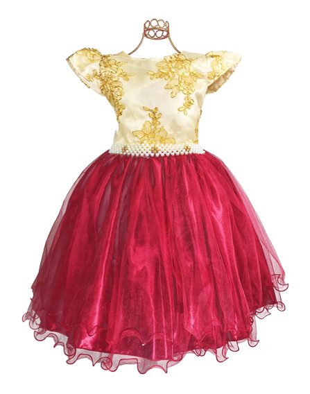 Vestido Infantil Festa Realeza Marsala Com Dourado 4 Ao 8