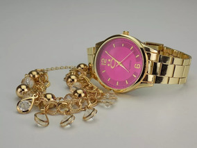Relógio Feminino Dourado+pulseira Bonito 100% Original Fg