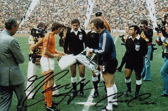 Foto 10 X 15 Con Autografo Cruyff Beckenbauer Firma Original