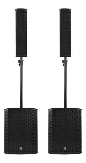 Kit Sonorização Ativo 4 Caixas Dsp Sub Line Array 2600w Loja