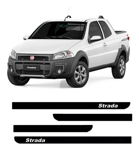 Jogo De Friso Lateral Borrachão Fiat Strada 2007 2008 2009