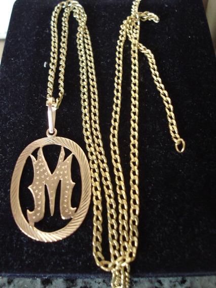 Pingente De Ouro Antigo Avermelhado Letra M Déc. De 50
