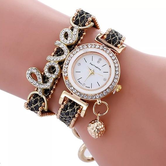 Relógios Pulseira De Couro Diamante De Luxo - Top