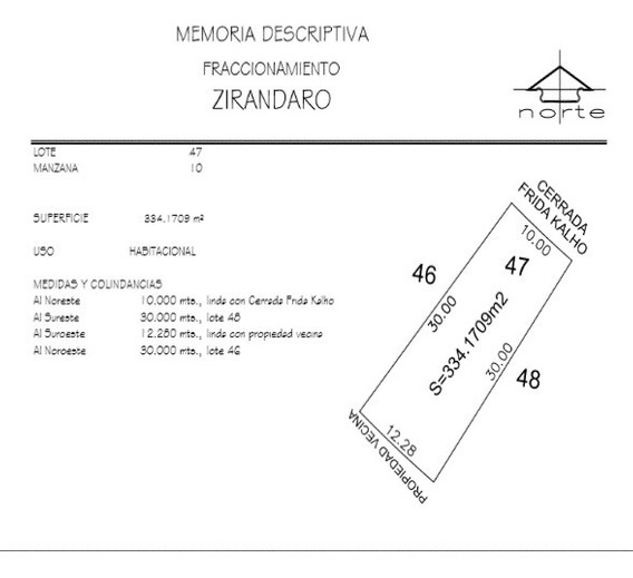 Remato Terreno En Zirandaro 334 M2 $998,660.00