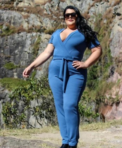 Macacão Feminino Plus Size Crepe De Malha Gg Macaquinho