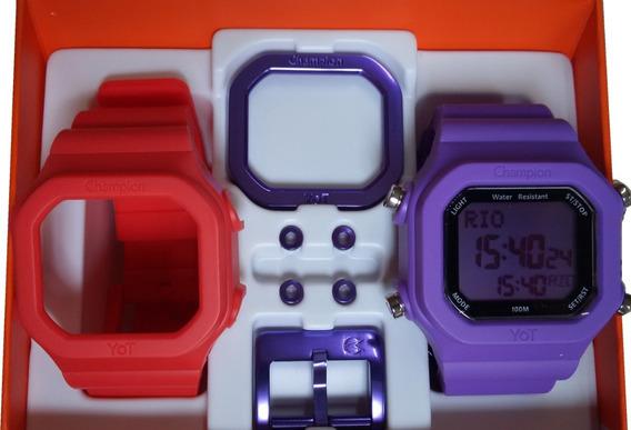 Relógio Champion Yot Original Cp40180x Vermelho Lilas