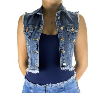 Colete Feminino Curto Sol Jeans Com Lycra Barra Desfiada Azu