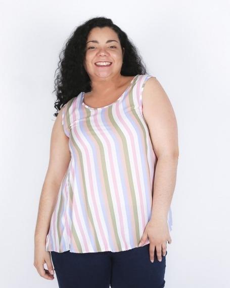 Musculosa De Fibrana Rayada Evase. Sara Indumentaria