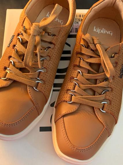 Tênis Couro Kipling Original Semi Novo Caramelo Número 35