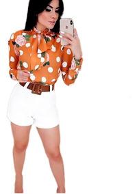 Conjunto Feminino -blusa Laço E Shorts Alfaiataria Com Cinto