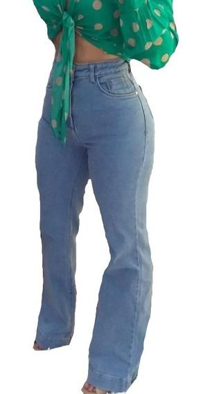 Calça Jeans Pantalona Feminino Retrô Básica - 13.07.0012