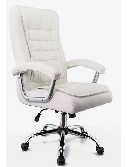 Cadeira Presidente Giratória Branca - Molas Ensacadas